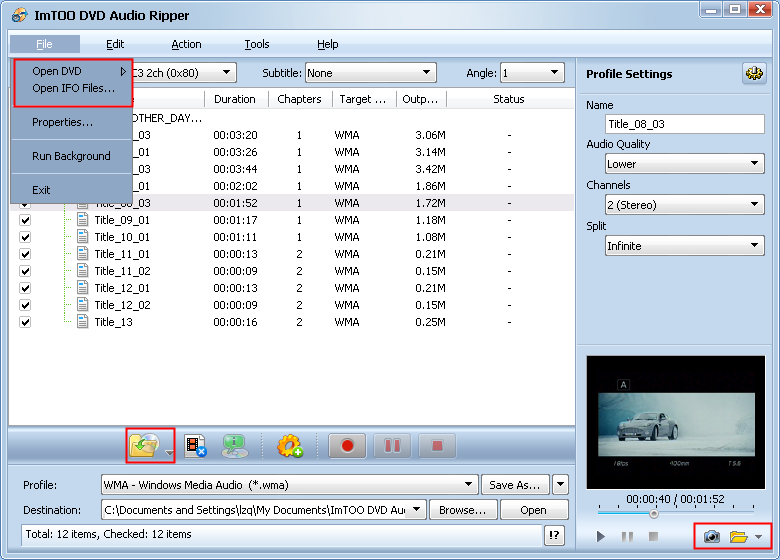 Convert DVD audio to MP3, WMA, WAV, AAC, with the wonderful