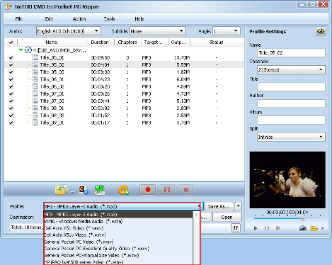 ImTOO DVD to Pocket PC Converter Guide - Set output format