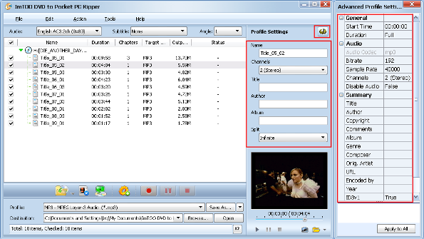 ImTOO DVD to Pocket PC Converter Guide - Ajust output settings
