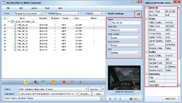 ImTOO DVD to WMV Converter Guide - Adjust output settings