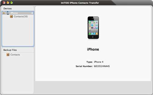 ImTOO iPhone Contacts Transfer for Mac Guide - Interface