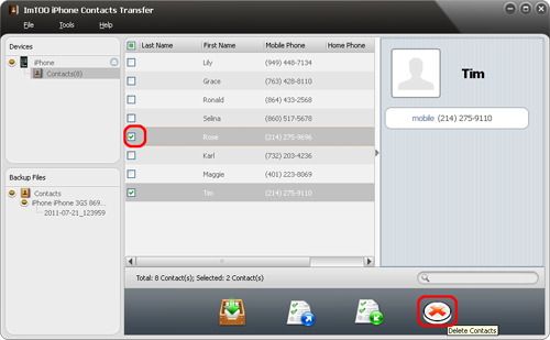 ImTOO iPhone Contacts Transfer - Delete